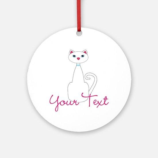 Personalizable White Cat Round Ornament