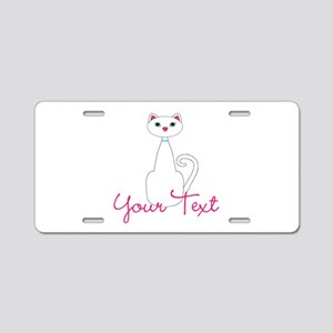 Personalizable White Cat Aluminum License Plate