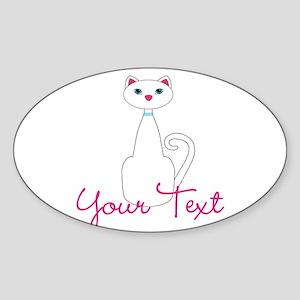 Personalizable White Cat Sticker