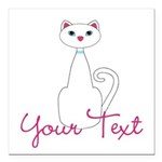 Personalizable White Cat Square Car Magnet 3