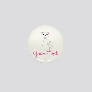 Personalizable White Cat Mini Button