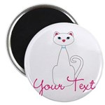 Personalizable White Cat Magnets