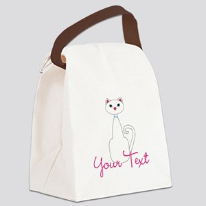 Personalizable White Cat Canvas Lunch Bag