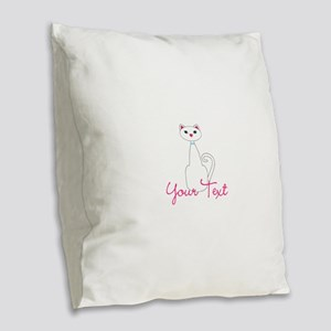 Personalizable White Cat Burlap Throw Pillow