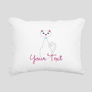 Personalizable White Cat Rectangular Canvas Pillow