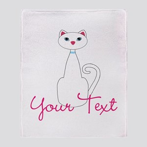 Personalizable White Cat Throw Blanket