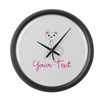 Personalizable White Cat Large Wall Clock