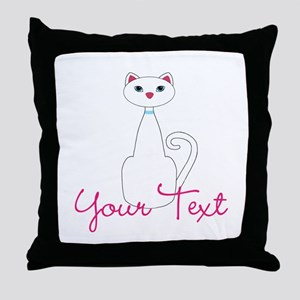 Personalizable White Cat Throw Pillow