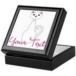 Personalizable White Cat Keepsake Box