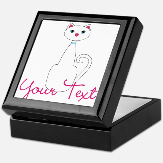 Personalizable White Cat Keepsake Box