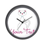 Personalizable White Cat Wall Clock