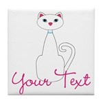 Personalizable White Cat Tile Coaster