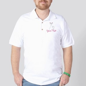 Personalizable White Cat Golf Shirt