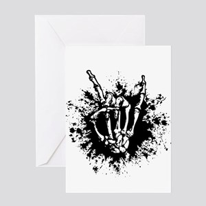 Rock in Bone Splat Greeting Cards