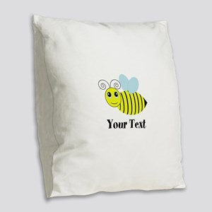 Personalizable Honey Bee Burlap Throw Pillow