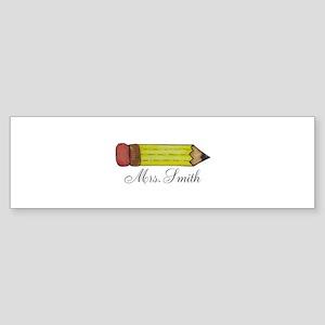 Personalizable Teachers Pencil Bumper Sticker