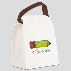 Personalizable Teachers Pencil Canvas Lunch Bag