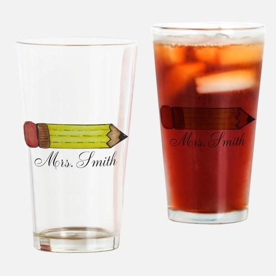Personalizable Teachers Pencil Drinking Glass