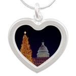 Capitol Christmas Tree Silver Heart Necklace