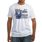 Mr. Gruff Atheist Witnessing  Fitted T-Shirt