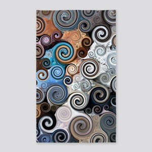 Abstract Rock Swirls Area Rug