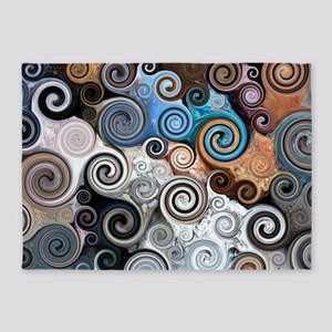 Abstract Rock Swirls 5'x7'Area Rug
