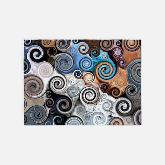 Abstract Rock Swirls 5'x7'Area Rug