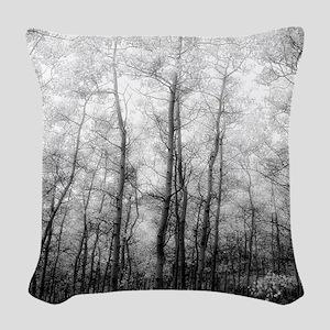 Black and White Aspens Woven Throw Pillow