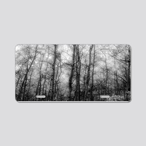 Black and White Aspens Aluminum License Plate