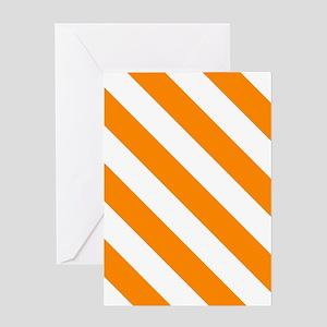 Orange: Stripes Pattern (Diagonal) Greeting Card