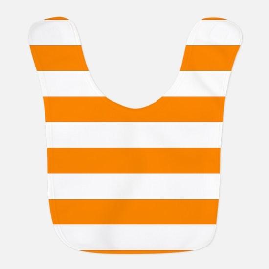 Orange: Stripes Pattern (Horizo Polyester Baby Bib