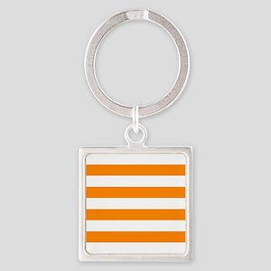 Orange: Stripes Pattern (Horizonta Square Keychain