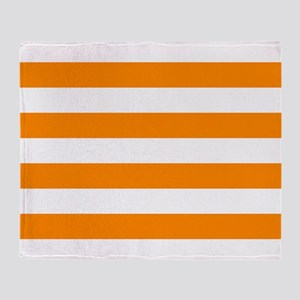 Orange: Stripes Pattern (Horizontal) Throw Blanket