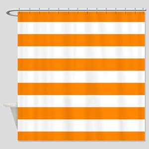 Orange: Stripes Pattern (Horizontal Shower Curtain
