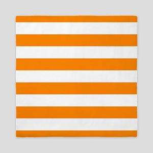 Orange: Stripes Pattern (Horizontal) Queen Duvet