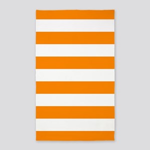 Orange: Stripes Pattern (Horizontal) Area Rug