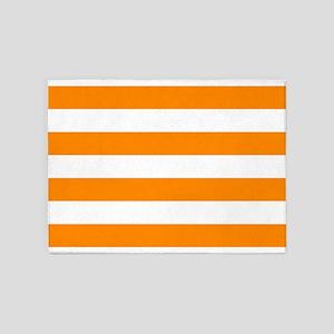 Orange: Stripes Pattern (Horizontal 5'x7'Area Rug