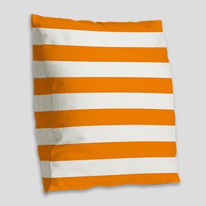 Orange: Stripes Pattern (Horiz Burlap Throw Pillow