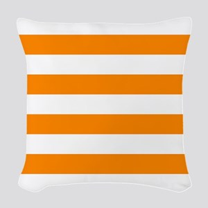 Orange: Stripes Pattern (Horiz Woven Throw Pillow