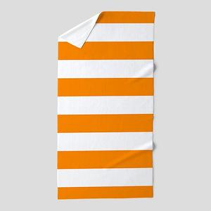 Orange Stripes Pattern Horizontal Beach Towel