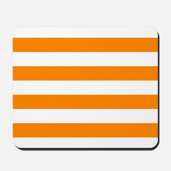 Orange: Stripes Pattern (Horizontal) Mousepad