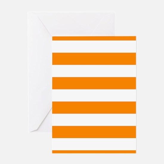 Orange: Stripes Pattern (Horizontal) Greeting Card