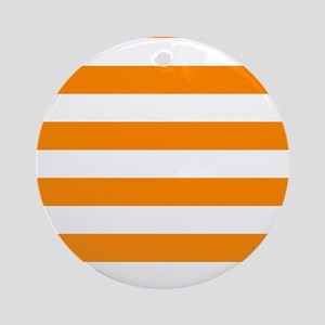 Orange: Stripes Pattern (Horizontal Round Ornament