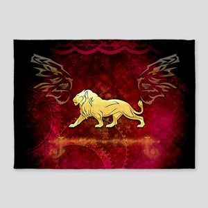 Lion in golden colors 5'x7'Area Rug