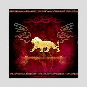 Lion in golden colors Queen Duvet