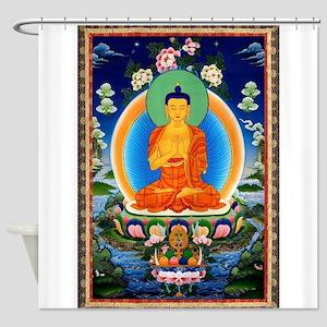 Tibetan Thangka Prabhutaratna Buddh Shower Curtain
