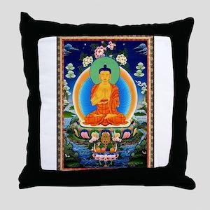 Tibetan Thangka Prabhutaratna Buddha Throw Pillow