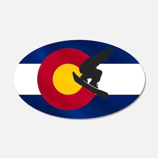 Colorado Snowboard Flag Wall Decal Sticker