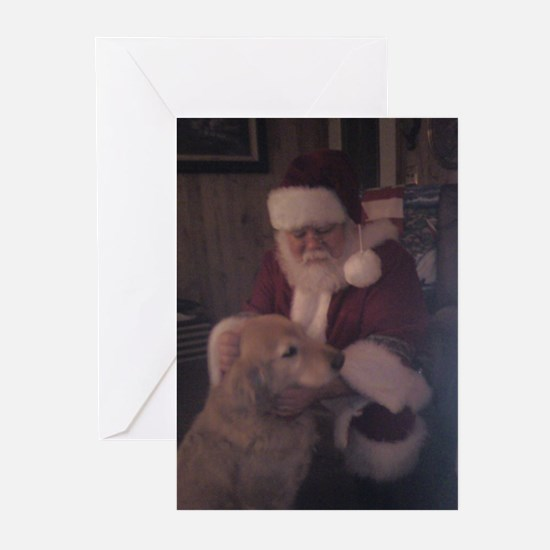 Santa with Hooper the Golden Retriev Greeting Card