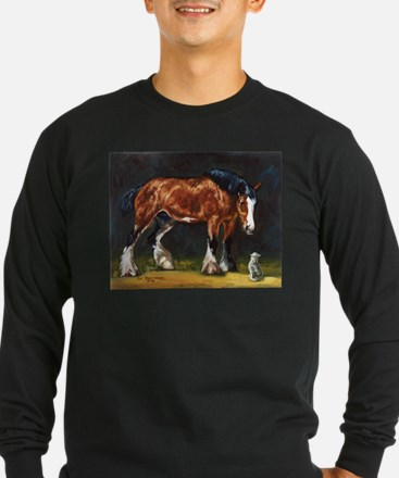 Clydesdale Horse and Cat Long Sleeve T-Shirt